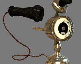 3D model animated vintage telephone