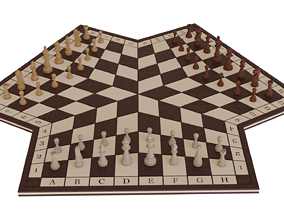 3D asset game-ready Three-player chess