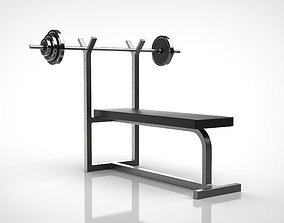 dumbbell barbell and bench 3D model
