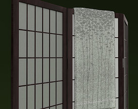 Shoji Rice Paper Screen and Towel 3D