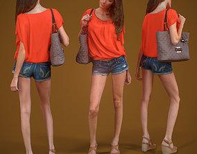 Girl Walking handbag and shorts 3D model