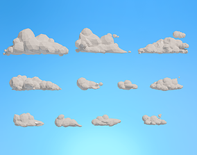 Low Poly Clouds Pack 1 3D model