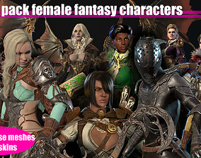 Super pack female fantasy characters 3D