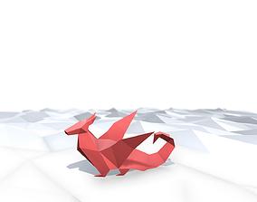 Origami Dragon 3D asset