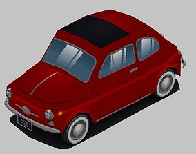 Low-poly animated pixelated Classic Fiat 500 3D model