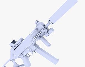 UMP 45 Submachine Gun Supressed 3D asset