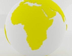 Yellow World Sphere 3D model