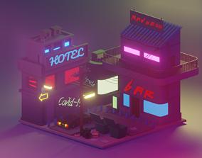 3D model Low poly scene cyberpunk
