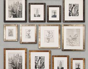 3D RH Antiqued Nailhead Gallery Frames
