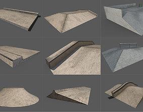 skatepark 9 piece set 3D model