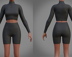 3D asset Biker shorts and turtleneck sweater set - 2 1