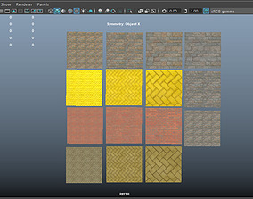 15 low poly PBR Bricks Walls with high res 3D model 1