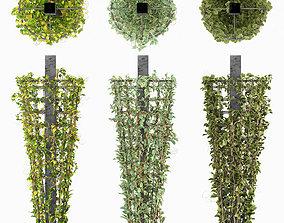 Creeping plant on Metal Column 3D asset VR / AR ready