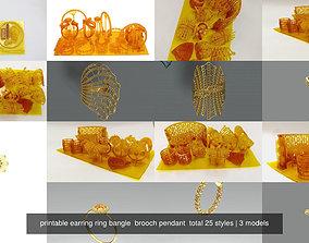 printable earring ring bangle brooch pendant 3D model 2
