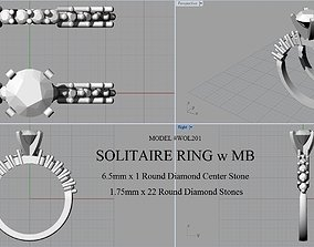 SOLITAIRE RING WITH MATCHING BAND 3D print model