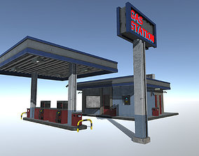 3D asset animated Gas Station