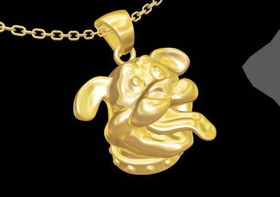 Puppy Head pendant jewelry gold necklace medallion 3D print model