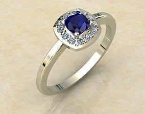 Ring with sapphire cushion cut 3D print model