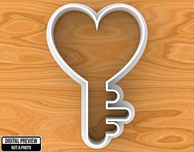 Heart Key Love Concept Cookie Cutter 3D print model
