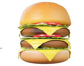 Making a 3D hamburger with vegetables in a animated