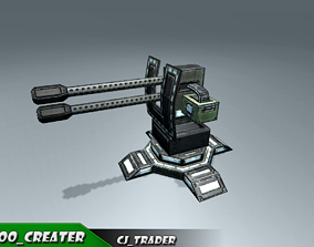 animated Lowpoly Mobile turret machine gun animated rig 3d