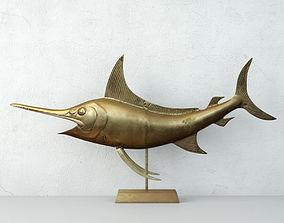 3D Mid Century Brass Marlin