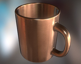 Coffee Cup Copper Version - Gameready - PBR 3D asset