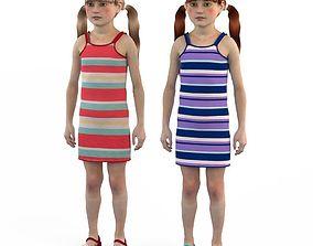 Girl dress t shirt skirt Baby clothes 3D child