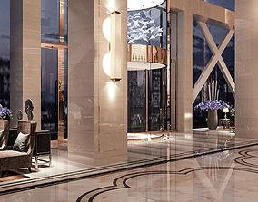 Hotel lobby 3D model rigged