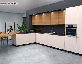 3D model low-poly modern kitchen
