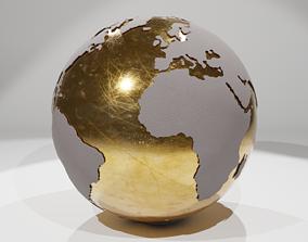 3D Globe in Gold