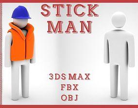 Stickman 3D model low-poly