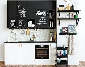 Kitchen set blender 3D model