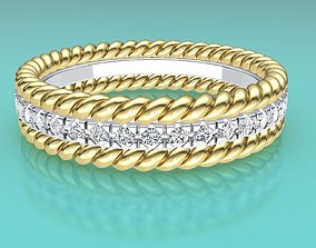 Tiffany two rope wedding ring band 3D printable model 4