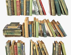 3D model old books on a shelf set 9