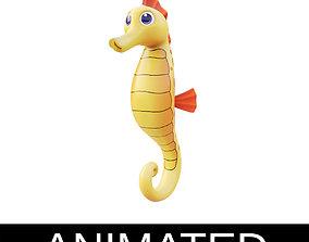 3D asset Yellow Seahorse Cartoon Style Animated