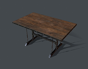 Industrial Style Dining Table 3D asset