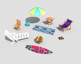 10 low poly beach props pack 3D model