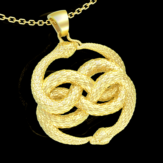 Tow Snake Pendant jewelry Gold 3D print model