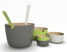 Set Of Bamboo Bowls 3D