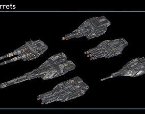 3D model Scifi Turrets