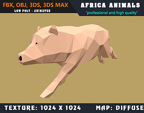 animated Low Poly Pig Cartoon 3D Model Animated - Game