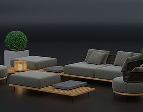 Furniture set Minotti Quadrado armchairs and tables 3D 1