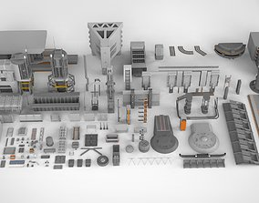 3D model Sci-Fi architecture Elements collection 13