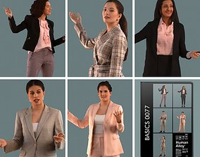 Set of 3D women presenting a project