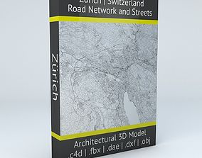 Zurich Road Network and Streets 3D