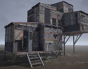 3D asset PBR Modular Post-Apocalyptic Buildings
