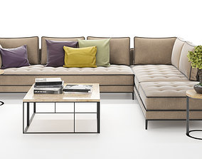Corner sofa set with table and plant 3D model