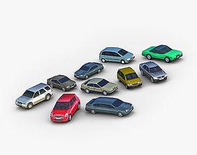10 Lowpoly City Cars 3D asset
