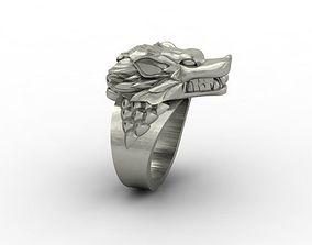 husky 3D printable model wolf ring